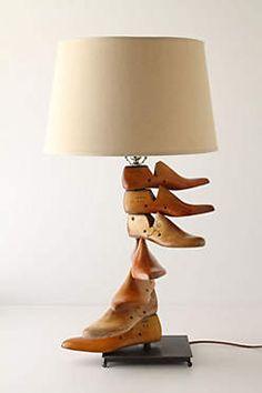 Upcycled vintage wooden shoe last lamp Unique Lighting, Home Lighting, Lighting Ideas, Recycled Lamp, Shoe Cobbler, Sculpture Metal, Shoe Molding, Shoe Stretcher, Old Shoes