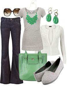 Moda en gris, verde y blanco