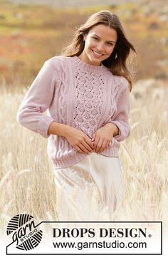 Summer's Waltz - Knitted jumper in DROPS Merino Extra Fine. Piece is knitted with cables and lace pattern. Size: S - XXXL Free knitted pattern DROPS Sweater Knitting Patterns, Knitting Designs, Knit Patterns, Free Knitting, Drops Design, Drops Kid Silk, Drops Patterns, Pulls, Cheers