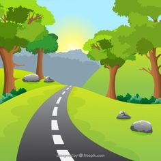 Natural landscape with a road Premium Vector