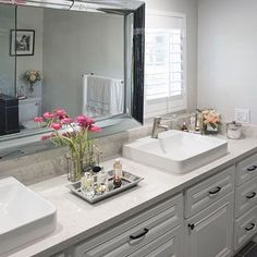Mirror Monday: @my_ownstyle_decor gave her outdated bathroom a whole new look, with added dimension from our Lucca Leaner Mirror.