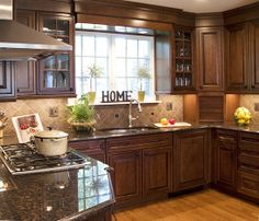 A kitchen in a home w/walls removed to create an open space for the kitchen and dining room featured on an Hour Magazine tour. Kitchen Dining, Kitchen Cabinets, Dining Room, Birmingham, Custom Kitchens, Livingston, Troy, Rapunzel, Creative
