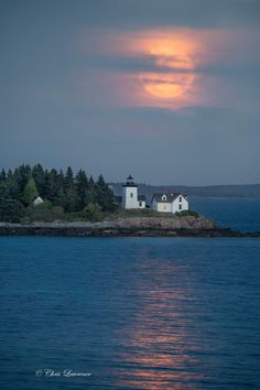 They let me out of the house last night to chase the moon.   I feel better now~ Shoot The Moon, Island Lighting, I Feel Good, Maine, Sunset, House, Outdoor, Sunsets, Outdoors