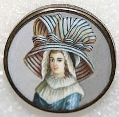 Antique French ivory button ~ painting of woman with rather large hat.  1775.  From collection belonging to The Metropolitan Museum of Art.
