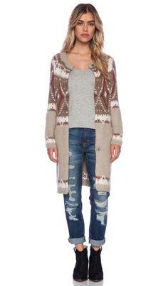 Free People Frosted Fairisle Cardigan in Natural Combo