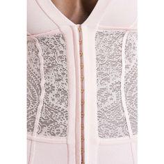 Stretch lace mini dress | Women's knit dresses | Balmain ($3,905) ❤ liked on Polyvore featuring dresses, stretch lace dress, pink knit dress, pink dress, balmain and knit dress