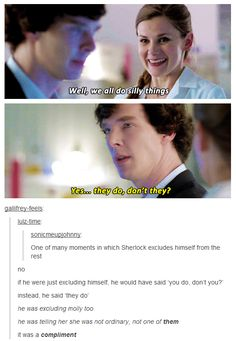 Aww yes. I love the fact that Molly protects Sherlock and for her is his friend. Sherlock trust her and she is at his side, even when Sherlock says bad things. I DON'T ship Sherlolly but i love their friendship. Sherlock Fandom, Sherlock Quotes, Sherlock Holmes Bbc, Watson Sherlock, Johnlock, Hunger Games, World Of Warcraft, Fangirl, Book Series