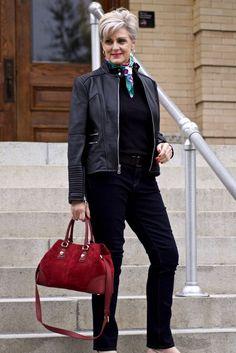 leather moto jacket, black sweater, silk scarf, statement handbag Source by bdjalali casual Fashion For Women Over 40, Black Women Fashion, 50 Fashion, Fall Fashion Trends, Plus Size Fashion, Autumn Fashion, Fashion Outfits, Fashion Online, Fashion 2018