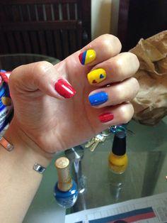 Colombian flag nails Hair And Nails, My Nails, Colombian Flag, Flag Nails, Fancy Nails, Nail Colors, Nail Art Designs, Tutu, Acrylic Nails
