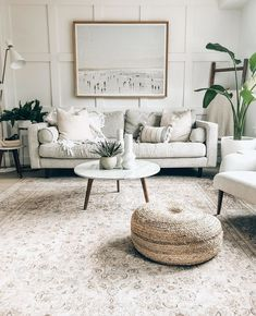Ideal chill spot: this cute + cozy living space, featuring our Willa lamp. Link in bio! Taupe Living Room, Narrow Living Room, Cozy Living Spaces, My Living Room, Cheap Living Room Rugs, Living Room Photos, Table Decor Living Room, Bedroom Decor, Walnut Coffee Table
