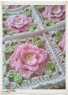 Shabby chic Pink roses crochet by lucinda