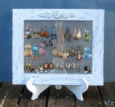 Earring Holder On A Stand / Light Blue Shabby Chic / by tammnoony, $33.90