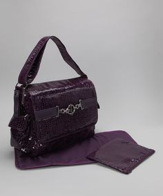 Crackle Plum Pippen's Messenger Diaper Bag Set by Kalencom on #zulily today! $34! (normaly 90)