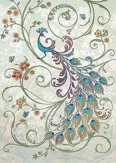 Peacock Bird by Jane Crowther. Bug Art greeting cards.