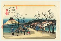 Urawa: Distant View of Mount Asama by Eisen (1790 - 1848). Japanese woodblock print. ukiyoe japan decoration antique fineart home decor collectible japanese woodblock print handmade home art beautiful decorative etching illustration traditional