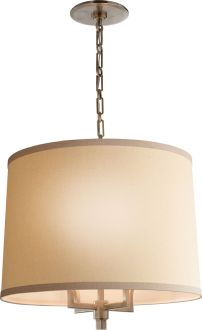 Circa Lighting Barbara Barry Chandelier - does not come in brushed nickel, but drum idea with little visible metal is consistent with could work well over dining table
