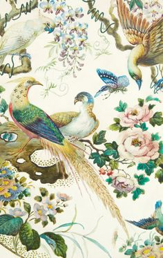 The beautiful Olde Avesbury pattern originated from an embroidery pattern by painter, Albert Gregory, is adorned with dramatic birds of paradise and p. Chinoiserie Wallpaper, Bird Wallpaper, Fabric Wallpaper, Pattern Wallpaper, Royal Wallpaper, Antique Wallpaper, Impression Textile, Motifs Textiles, Art Chinois