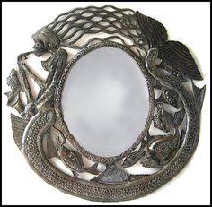 "Metal Mirror Wall Hanging - 17"" Wall Mirror, Decorative Wall Mirrors, Metal Wall Decor, Haitian Metal Art, Recycled Steel Drum - J112-M-17 by HaitiMetalArt on Etsy"