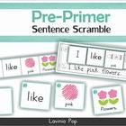 Sight Words - Sentence Scramble (Pre-Primer Words) About this book: This book contains 4-word sentence building printables for 40 pre-primer sight...