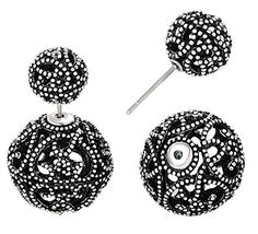 She Lian Vintage Hollow out Womens Double Side Round Ball Stud EarringsAntique Silver Tone *** Visit the image link more details. Note:It is Affiliate Link to Amazon.