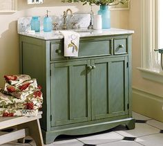 French Country - Bathroom decorating ideas - a bureau-like sink