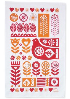 """Folk Embroidery Design franwooddesign: """" Scandinavian Retro Textiles - Bird and Flower Tea Towel This is my own design that has been screen printed onto a tea towel. It's based on Scandinavian folk art and sketches I made. Folk Embroidery, Vintage Embroidery, Embroidery Patterns, Motif Vector, Bordado Popular, Scandinavian Folk Art, Scandinavian Embroidery, Scandinavian Pattern, Embroidery Techniques"""