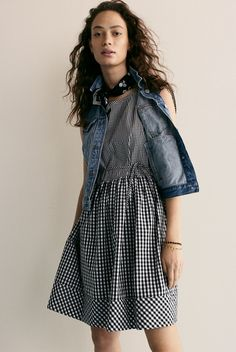 madewell tie-back mini dress in gingham-play worn with bandana + the jean vest.