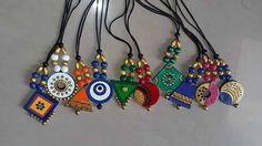 Funky Jewelry, Fabric Jewelry, Beaded Jewelry, Handmade Jewelry, Teracotta Jewellery, Terracotta Jewellery Designs, Terracotta Earrings, Beaded Necklace Patterns, Wood Earrings