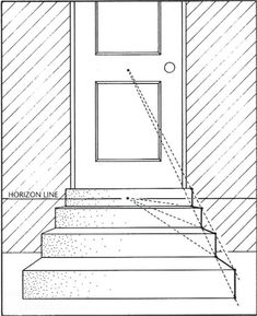 Drawing Tips simple stairs in one-point perspective One Perspective Drawing, 1 Point Perspective, Drawing Skills, Drawing Techniques, Drawing Tips, How To Draw Stairs, Architecture Sketchbook, Art Basics, Step By Step Drawing