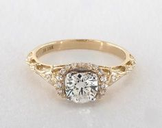 .7ct Vintage Inspired Round Engagement Ring Yellow Gold