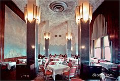 "Chrysler Building-The Cloud-Club-Interior-NYC ~ The Cloud Club ""the inspiration for many of the others."" It was initially designed for Texaco, which occupied 14 floors of the Chrysler Building, and used as a restaurant for executives. The club closed in the late 1970s."