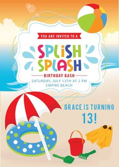Beach Invitation Boys Or Girls Party By AnnounceItFavors 1500 Invitations Kids Birthday