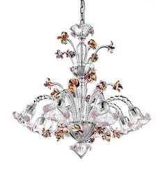 Crystal chandelier with colorful flowers