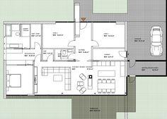 """Modernes Wohnen auf einer Ebene Grundriss Beispiel - Designstudie """"Pavillon"""" bei www.flow-architektur.de"""