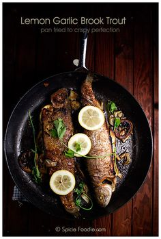 Delicious, fast, easy and healthy dinner recipe for Brook Trout. Lemon Garlic Stuffed Brook Trout pan fried to crispy perfection. Plus some scrumptious Mother's Day brunch recipe ideas. Rainbow Trout Recipes, Fish Recipes, Seafood Recipes, Rainbow Trout Recipe Pan Fried, Healthy Dinner Recipes, Great Recipes, Cooking Recipes, Recipe Ideas, Fish Dishes