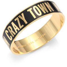 Kate Spade New York Crazy Town Bangle Bracelet ($62) ❤ liked on Polyvore featuring jewelry, bracelets, accessories, jóias, black, kate spade, engraved bangle bracelet, bangle jewelry, bracelets bangle and enamel bangle bracelet