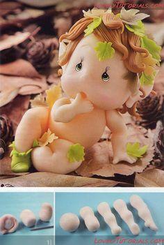 МК лепка Ангелок -Gumpaste (fondant, polymer clay) Cute Angel making tutorial - Мастер-классы по украшению тортов Cake Decorating Tutorials (How To's) Tortas Paso a Paso