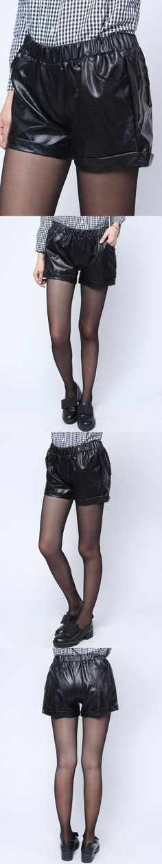 Boxer shorts in pants women fashion black elastic waist pu leather pleated short pants #chandler #pants #shorts #but #longer #shorts #hot #pants #comprar #online #shorts #over #pants #bandcamp