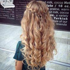Waterfall Braid Half Updo + Curly Hair
