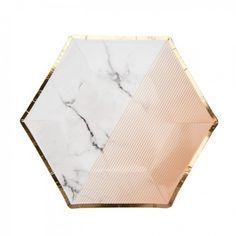 Einweggeschirr Partygeschirr Rose Gold mit Gold Blätter Hexagon Teller 6 St