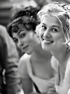 Keira Knightley & Rosamund Pike on the set of Pride & Prejudice (2005) #janeausten #joewright