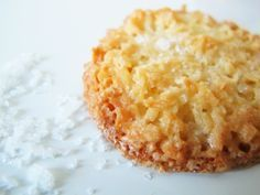 Crisp coconut cookies with fleur de sel - I have been making these for years from Swedish chef Marcus Samuelsson's Aquavit cookbook. Cookie Desserts, Just Desserts, Cookie Recipes, Delicious Desserts, Dessert Recipes, Yummy Food, Coconut Desserts, Flour Recipes, Milk Recipes