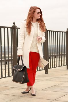 Red + winter white.  Our red miracle stretch pants as styled by @Alison Coglianese / Chain Strap Purse -- love!