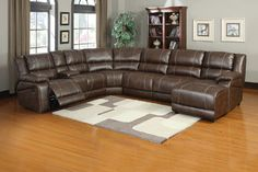 Soft Brown Leather Reclining Sectional Sofa Push Back Chaise With Recliner