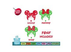 Mickey Mouse svg silhouette pack - Mickey and Minnie Mouse - Disney svg -Christmas svg -Mickey clipart digital download svg, png, dxf, eps by SuperDuperDIY on Etsy