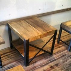 "Reclaimed Wood and steel coffee table ""X"" frame style. made in chicago. ""old growth"" wood tops. $475.00, via Etsy."