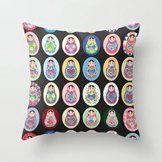 cute doll matryoshka Throw Pillow by EkaterinaP - $20.00
