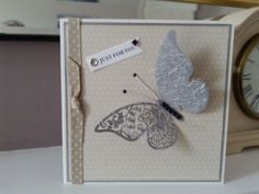 Just for you butterfly card - Folksy Butterfly Cards, Grosgrain Ribbon, Pearl White, Thank You Cards, Your Cards, Birthday Cards, Wedding Invitations, Handmade Items, Wings