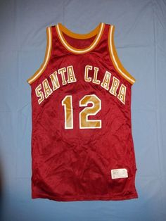 bcb83b2fd Vtg Santa Clara Broncos Basketball Jersey HARV-AL Made in USA  12 NCAA Nylon