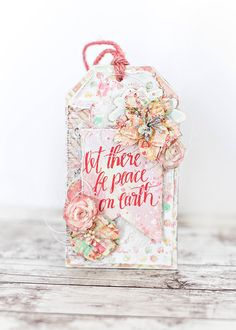 """""""I created a floral Christmas gift tag using the gorgeous Sweet Peppermint collection. I added a pocket on the back of the tag to hold a gift card - this makes gift giving super easy and beautiful!"""" ~ Tiffany Solorio"""